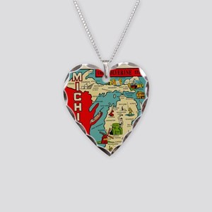 vintage michigan Necklace Heart Charm