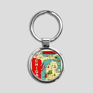 vintage michigan Round Keychain