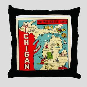 vintage michigan Throw Pillow