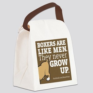 Boxer Dogs and Men Canvas Lunch Bag