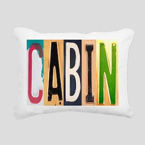 Cabin Letters Rectangular Canvas Pillow