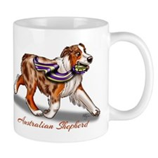 Red Merle Australian Shepherd with Ribbon Mugs