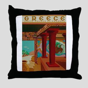Vintage Crete Greece Travel Throw Pillow