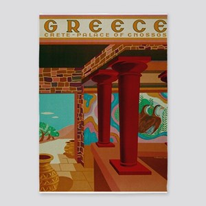 Vintage Crete Greece Travel 5'x7'Area Rug