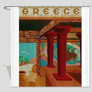 Vintage Crete Greece Travel Shower Curtain