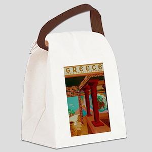 Vintage Crete Greece Travel Canvas Lunch Bag
