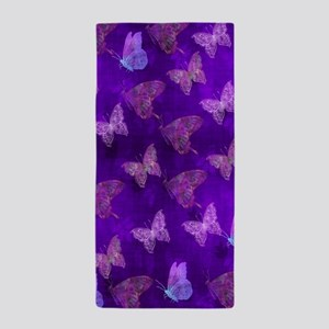 Purple Butterflies Beach Towel