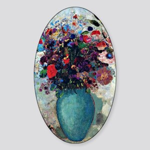 Flowers in a Turquoise Vase, Odilon Sticker (Oval)