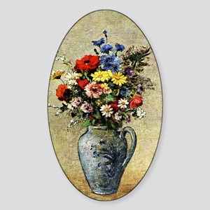 Flowers in a Vase with One Handle Sticker (Oval)