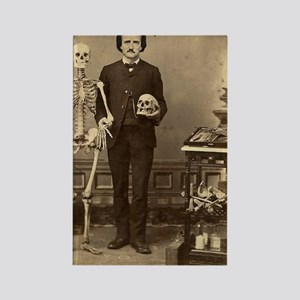 Edgar Allan Poe With Skeleton Vic Rectangle Magnet