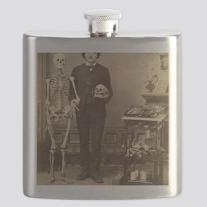 Edgar Allan Poe With Skeleton Victorian Oddi Flask