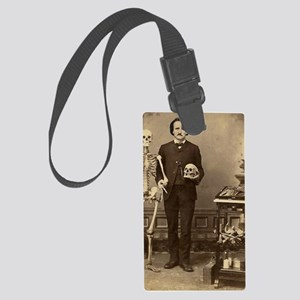 Edgar Allan Poe With Skeleton Vi Large Luggage Tag