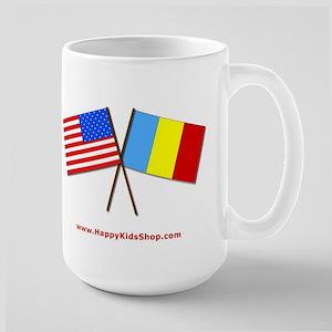 Large Mug - US and Romania flags