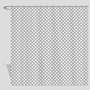 Grey and White Polka Dots Shower Curtain