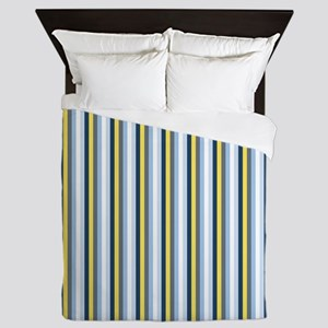 Yellow And Blue Stripes Queen Duvet