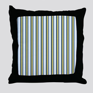 Yellow And Blue Stripes Throw Pillow