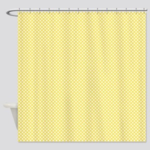 Yellow And White Polka Dots Shower Curtain