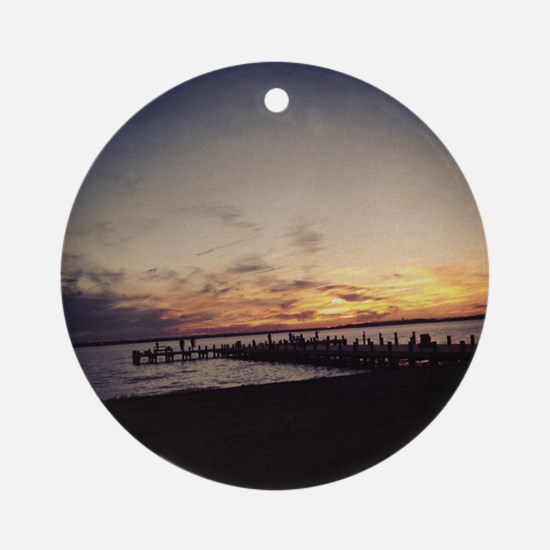 Sun Goes Down on Seaside Ornament (Round)