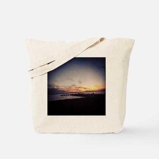 Sun Goes Down on Seaside Tote Bag