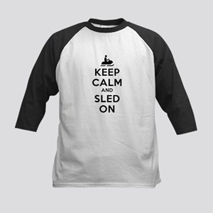 Keep Calm Sled On Kids Baseball Jersey