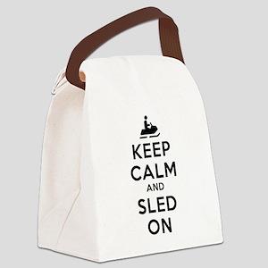 Keep Calm Sled On Canvas Lunch Bag