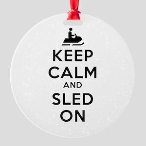 Keep Calm Sled On Round Ornament