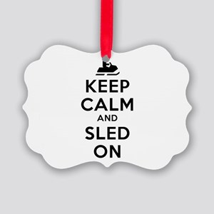 Keep Calm Sled On Picture Ornament