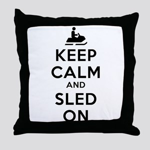 Keep Calm Sled On Throw Pillow