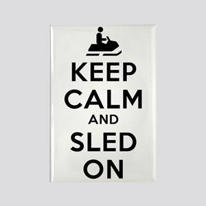 Keep Calm Sled On Rectangle Magnet