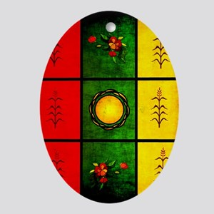 red yellow green Oval Ornament