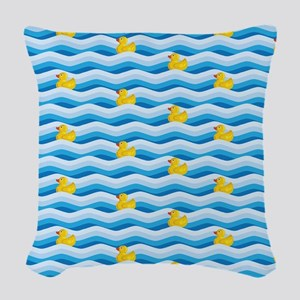 Rubber Ducky Swimming Woven Throw Pillow