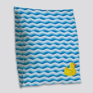 Lone Rubber Ducky Burlap Throw Pillow