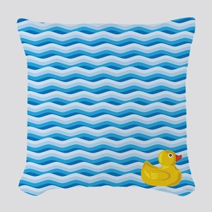 Lone Rubber Ducky Woven Throw Pillow