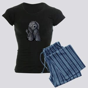 KiniArt Black Doodle Dog Women's Dark Pajamas