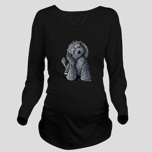KiniArt Black Doodle Long Sleeve Maternity T-Shirt