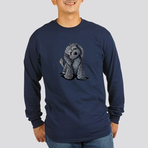 KiniArt Black Doodle Dog Long Sleeve Dark T-Shirt