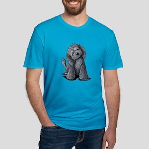KiniArt Black Doodle D Men's Fitted T-Shirt (dark)
