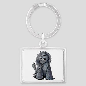 KiniArt Black Doodle Dog Landscape Keychain