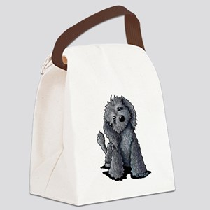 KiniArt Black Doodle Dog Canvas Lunch Bag