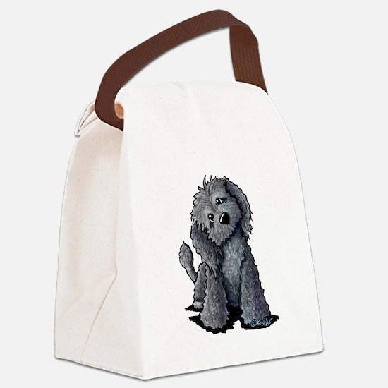KiniArt Black Doodle Dog Canvas Lunch Bag
