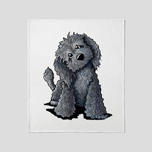 KiniArt Black Doodle Dog Throw Blanket