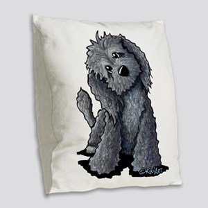 KiniArt Black Doodle Dog Burlap Throw Pillow