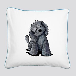 KiniArt Black Doodle Dog Square Canvas Pillow