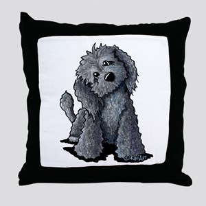 KiniArt Black Doodle Dog Throw Pillow