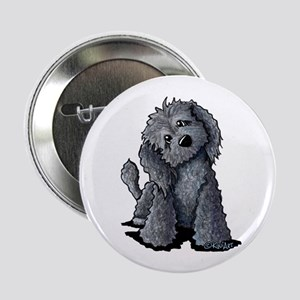 "KiniArt Black Doodle Dog 2.25"" Button"