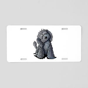 KiniArt Black Doodle Dog Aluminum License Plate