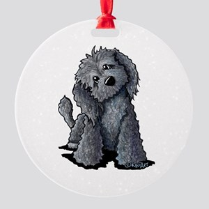 KiniArt Black Doodle Dog Round Ornament
