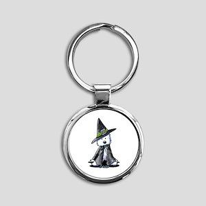 Witchy Westie Round Keychain