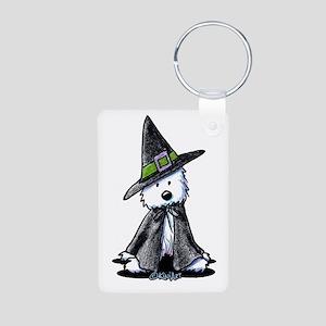 Witchy Westie Aluminum Photo Keychain