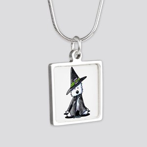 Witchy Westie Silver Square Necklace